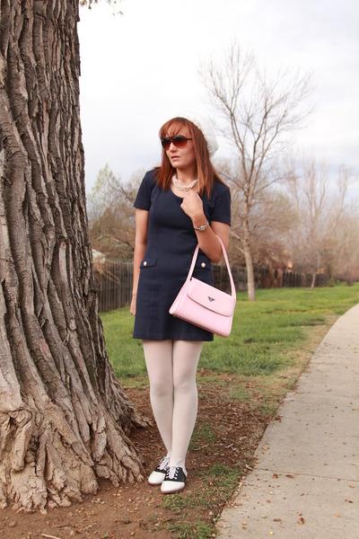 light pink Prada bag - black saddle oxfords Payless shoes
