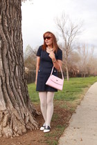 light pink Prada bag - black saddle oxfords Payless shoes