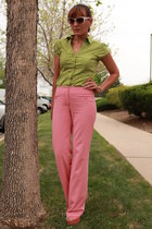 coral BCBG pants - chartreuse thrifted shirt - coral Payless sandals