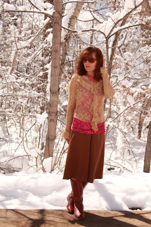 tawny thrifted boots - light brown lace thrifted shirt