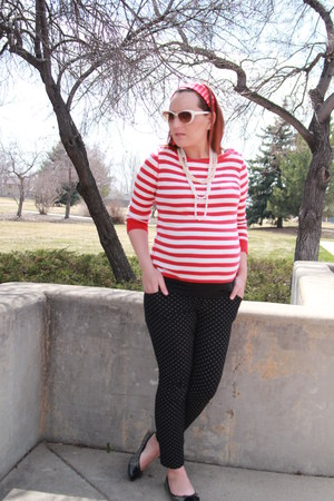 red striped Marshalls shirt - black Old Navy pants - gray tweed Target flats