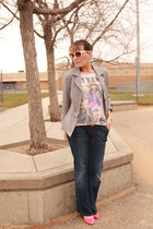 navy Motherhood Maternity jeans - heather gray thrifted blazer