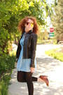 Sky-blue-wrap-ann-taylor-dress-dark-brown-leather-wal-mart-jacket