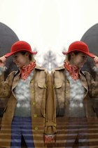 vintage coat - pointed local brand boots - flea market jeans - red vintage hat