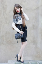white BangGood blouse - black Rebecca Minkoff bag - black Buffalo pumps