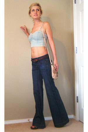 wide leg Gap jeans - fringed bag - braided vintage belt - wood Mia pumps - denim