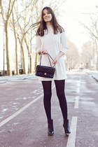white SANDRO dress - black perspex heel maison martin margiela boots