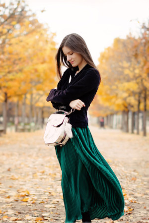 forest green American Apparel skirt - silver Alexander Wang bag