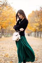 forest green American Apparel skirt - silver Alexander Wang bag
