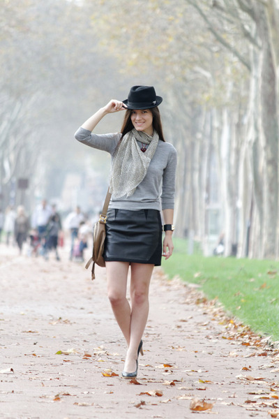 black Claudie Pierlot skirt - silver Jcrew sweater - tan Chloe bag
