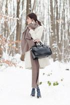 heather gray Zara scarf - white Sinéquanone coat - navy Henrik Vibskov tights