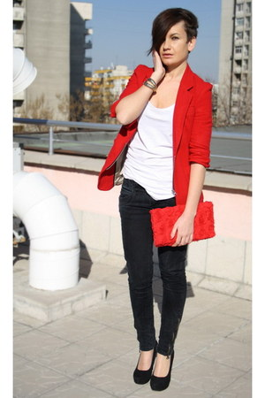 black Zara jeans - red Public Beware blazer - red H&amp;M bag - gold bracelet