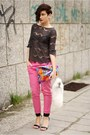 Dark-gray-zara-top-hot-pink-zara-jeans
