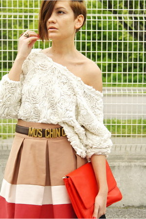 red Zara bag - white American Apparel top - beige Zara skirt - brown vintage Mos