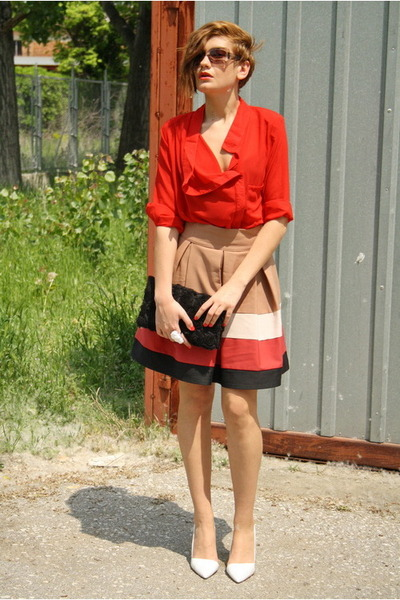 white Zara shoes - ruby red romwe shirt - black H&amp;M bag - camel Zara skirt - whi