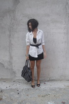 black Zara skirt - white mans Zara shirt - gray bag Zara accessories