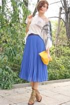 brown asos shoes - yellow American Apparel bag - blue Zara skirt - white amen to