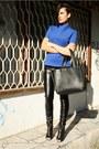 Blue-zara-top-black-new-yorker-pants-black-givenchy-sandals