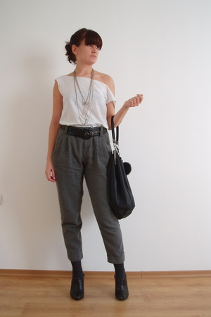 Zara pants - Zara shoes - H&M scarf - Zara bag - H&M belt - aa blouse