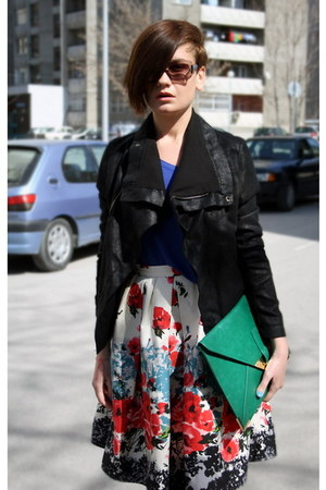 teal bag - black Ekoclo jacket - blue Stradivarius top - white Primark skirt
