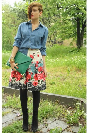 blue American Apparel shirt - green asos bag - ivory Primark skirt - gold asos b