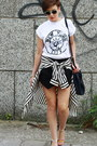 Black-zara-shorts-white-river-island-t-shirt