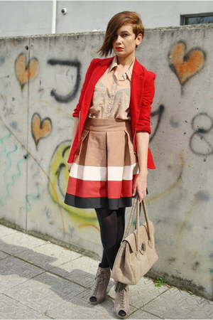 red Public Beware jacket - beige asos boots - tan American Apparel shirt