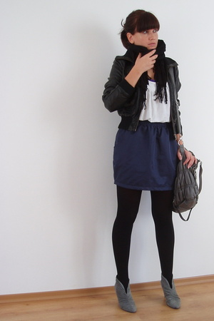 H&M jacket - aa skirt - blendshe purse - Zara shoes