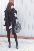 H&M scarf - Zara shoes - American Apparel dress - Zara tights - Zara bag