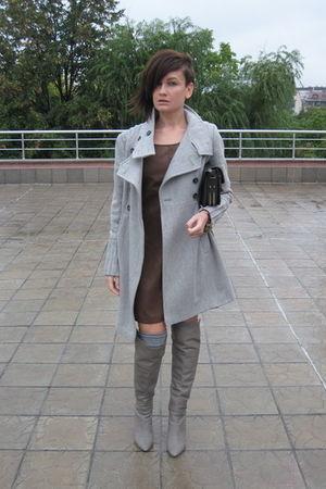 silver Zara boots - brown leather look Zara dress - silver Zara coat