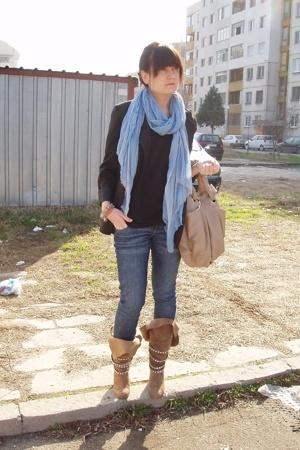 beige studded Zara boots - black BDG blazer - blue Zara scarf