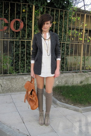 ivory Zara dress - black Kookai blazer - beige Stradivarius socks - beige asos b