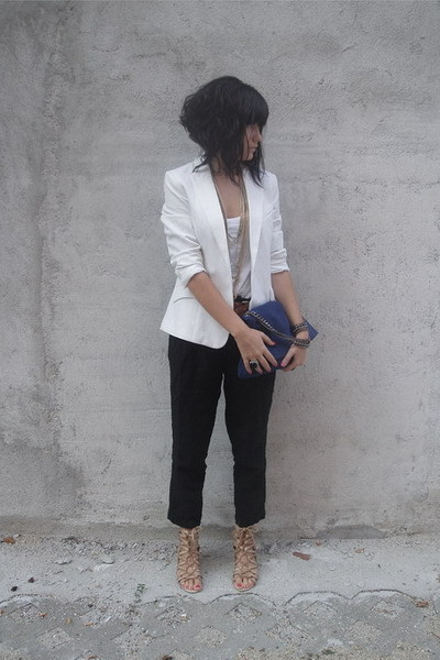 white H&M blazer - beige lace-up unknown shoes - white H&M top