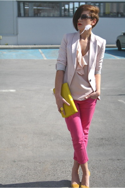 yellow clutch H&M bag - hot pink Zara jeans - light pink Zara blazer