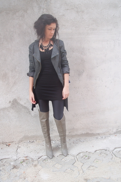 gray leather Bershka jacket - gray over the knee Zara boots