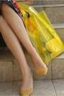 Yellow-zara-shoes-yellow-h-m-bag-cream-primark-skirt-white-romwe-top