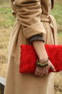 Brown-mango-dress-camel-vintage-coat-red-h-m-bag