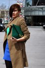 Light-brown-mango-coat-green-asos-bag-blue-zara-skirt-green-zara-top-gol