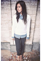 blue Pimkie shirt - white Ralph Lauren sweater - black Pimkie jeans