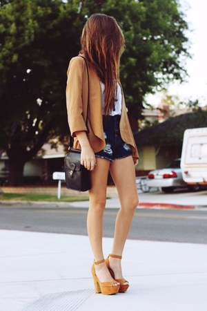 camel heels - camel blazer - dark brown bag - navy shorts - white top