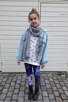 white GINA TRICOT sweater - brown boots H&M shoes - blue galaxy Ebay tights