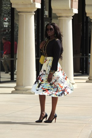 white Zara skirt - yellow Chanel bag - dark gray Christian Louboutin heels