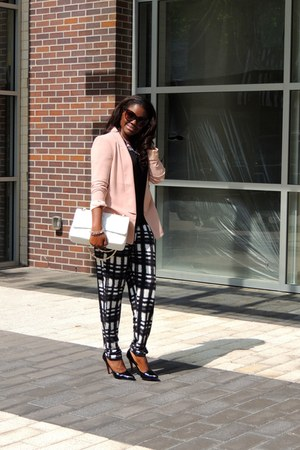 neutral Forever 21 blazer - white Chanel bag - forest green asos pants