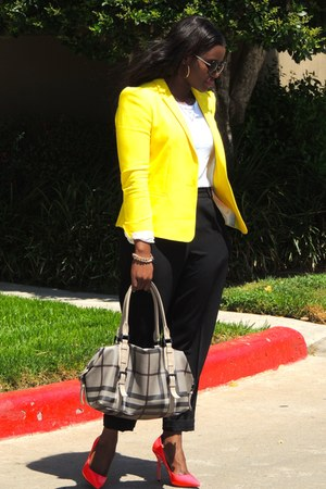 yellow Zara blazer - white Forever 21 shirt - tan Burberry bag