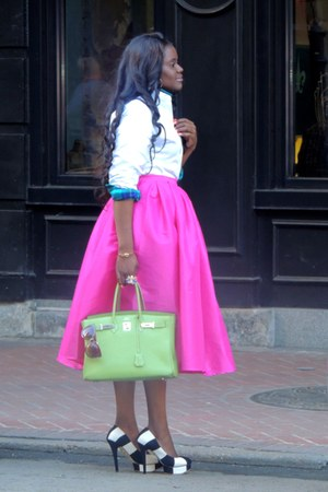 bubble gum Choies skirt - turquoise blue American Eagle shirt - white Zara shirt