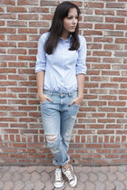 sky blue Zara jeans - sky blue Zara shirt - light brown Converse sneakers