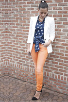 white Zara blazer - carrot orange benneton jeans - blue second hand blouse