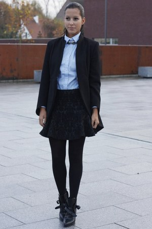 black Zara boots - black Zara coat - silver Zara necklace