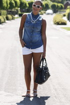 white Zara shorts - black balenciaga bag - white H&M necklace - blue H&M blouse