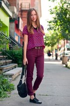 brick red Vero Moda pants - black BCBG bag